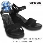 W6 (23 cm.) : Crocs Women's Leigh II Ankle Strap Wedge - Black ของแท้ Outlet ไทยและอเมริกา