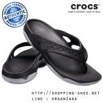 M9 (27.5 cm) : Crocs Swiftwater Deck Flips - Black / Light Grey ของแท้ Outlet ไทยและอเมริกา
