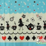 ผ้าคอตตอนลินินญี่ปุ่น ลายอลิส (Alice in Wonderland) โทนสีฟ้า น่ารักสดใส