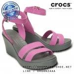 W7 (24 cm.) : Crocs Women's Leigh Wedge - Wild Orchid / Charcoal ของแท้ Outlet ไทยและอเมริกา