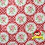 ผ้าฝ้ายญี่ปุ่นลายดอกุหลาบ โทนสีแดงสดใส น่ารักดีค่ะ คอตตอน 100% ตัดเสื้อได้ค่ะ