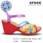 W8 (25 cm.) : Crocs Huarache Sandal Wedge - Multi / Geranium ของแท้ Outlet ไทยและอเมริกา