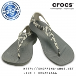 W5 (22.5 cm.) : Crocs Sexi Leopard Print Flip - Charcoal ของแท้ Outlet ไทยและอเมริกา