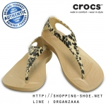 W5 (22.5 cm.) : Crocs Sexi Leopard Print Flip - Gold ของแท้ Outlet ไทยและอเมริกา