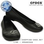 W6 (23 cm.) : Crocs Gianna Disc Flat - Black / Silver ของแท้ Outlet ไทยและอเมริกา