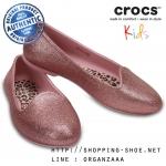 J3 (22.5 cm.) : Crocs Eve Sparkle Flat - Blush ของแท้ Outlet ไทยและอเมริกา