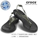 W8 (25.5 cm.) : Crocs Really Sexi T-Strap Sandal - Black ของแท้ Outlet ไทยและอเมริกา