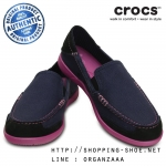W5 (22.5 cm.) : Crocs Women's Walu Express Loafer - Nautical Navy / Wild Orchid ของแท้ Outlet ไทยและอเมริกา