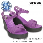 W7 (24 cm.) : Crocs Women's Leigh Sandal Wedge - Wild Orchid / Charcoal ของแท้ Outlet ไทยและอเมริกา