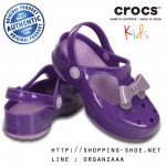 C11 (18 cm.) : Crocs Carlie Bow Mary Jane - Neon Purple / Iris ของแท้ Outlet ไทยและอเมริกา