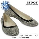 W9 (26 cm.) : Crocs Lina Shiny Flat - Oyster / Black ของแท้ Outlet ไทยและอเมริกา