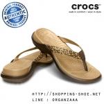 W8 (25 cm.) : Crocs Capri IV Leopard Print Flip - Espresso / Gold ของแท้ Outlet ไทยและอเมริกา