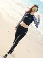 พร้อมส่ง ชุดว่ายน้ำขายาวแขนยาว เซ็ต 3 ชิ้น เสื้อครอปลำตัวสีดำ แขนลายโบฮีเมียนสวยมาก