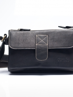 LDB3051 Sairiz กระเป๋าหนังแท้ 3ลอน ด้านหน้ามีช่องเก็บของฝาปิด สีดำ
