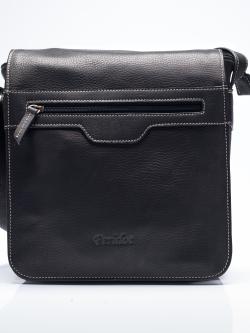 GTB3050 Gary กระเป๋าผู้ชาย สะพายข้าง หนังชามัวแท้ ทรงฝาปิดใหญ่ แต่งซิปด้านหน้า สีดำ