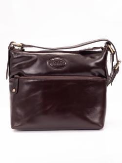 LDB194 กระเป๋าสะพาย ขนาดกลาง 3 ซิป หนังซีซีโอ เงาสวย สีน้ำตาล