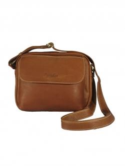 LDB3042 Myla กระเป๋าสะพาย หนังแท้ สองซิป ทรงกะทัดรัด ช่องเก็บของเยอะ สีคาราเมล