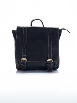 BCK3047 Meredith เป้ หนังชามัวแท้ ทรงกระเป๋านักเรียนญี่ปุ่น เก๋ๆแบบมีสไตล์ สีดำ
