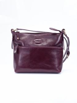LDB194 กระเป๋าสะพาย ขนาดกลาง 3 ซิป หนังซีซีโอ เงาสวย สีม่วง