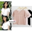 เสื้อผ้าแฟชั่นสวยๆ เสื้อทำงาน สีนู้ด ผ้าฮานาโกะ คอวี กุ้นขอบส้นสีขาวตัดกัน แบบสวย ดีไซน์เก๋ๆ สินค้าคุณภาพดี thumbnail 1