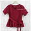 เสื้อผ้าแฟชั่นสวยๆ เสื้อทำงาน (สีแดงเข้ม) ผ้าฮานาโกะ แต่งระบายเอว มีสายมัดโบว์ สวยหวานสไตล์เกาหลี ใส่ได้หลายสไตล์ เว้าคอ มีซิปหลัง ใส่ได้ทุกโอกาส thumbnail 1