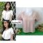 เสื้อผ้าแฟชั่นสวยๆ เสื้อทำงาน สีนู้ด ผ้าฮานาโกะ คอวี กุ้นขอบส้นสีขาวตัดกัน แบบสวย ดีไซน์เก๋ๆ สินค้าคุณภาพดี thumbnail 3