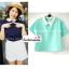 เสื้อแฟชั่น เสื้อทำงาน ผ้าฮานาโกะ สีเหลือง พาสเทล สดใส คอปกเก๋ๆ แบบยอดนิยม สินค้าคุณภาพ ราคาไม่แพง thumbnail 4