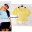 เสื้อแฟชั่น เสื้อทำงาน ผ้าฮานาโกะ สีเหลือง พาสเทล สดใส แต่งเอวผ้าซีฟองพริ้วๆ น่ารักมากๆ สินค้าคุณภาพ ราคาไม่แพง thumbnail 1