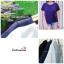เสื้อแฟชั่นสวยๆ ผ้าฮานาโกะ สีกรมท่า ดีไซน์ผ้าป้ายหน้า-หลังเก๋ๆ แบบยอดนิยม สวยเรียบหรู thumbnail 6