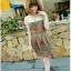 SALE//SALE (ส่งฟรี) ชุดเดรส คอบัว สไตล์เกาหลี พิมพ์ลาย กราฟฟิก สีส้ม เก๋ๆ thumbnail 3