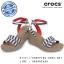 W7 (24 cm.) : Crocs Women's Leigh Graphic Wedge - Nautical Navy / White ของแท้ Outlet ไทยและอเมริกา thumbnail 1