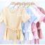 เสื้อผ้าแฟชั่นสวยๆ เสื้อทำงาน (สีม่วงพาสเทล) ผ้าฮานาโกะ แต่งระบายเอว มีสายมัดโบว์ สวยหวานสไตล์เกาหลี ใส่ได้หลายสไตล์ เว้าคอ มีซิปหลัง ใส่ได้ทุกโอกาส thumbnail 5