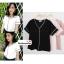เสื้อผ้าแฟชั่นสวยๆ เสื้อทำงาน สีดำ ผ้าฮานาโกะ คอวี กุ้นขอบสีขาวตัดกัน แบบสวย ดีไซน์เก๋ๆ สินค้าคุณภาพดี thumbnail 1