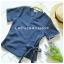 เสื้อแฟชั่นผ้าฮานาโกะ รุ่นป้ายข้าง (สีเทา) โบว์เอว แบบสวยเก๋ มีสไตล์ ใส่ได้ทุกโอกาส thumbnail 3