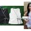 เสื้อผ้าแฟชั่นสวยๆ เสื้อทำงาน สีขาว แขนกุด แบบผ้าป้ายสุดฮิต กุ้นขอบสีสวยๆตัดกัน ผูกโบว์เอว สวยเรียบหรู thumbnail 5