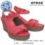 W7 (24 cm.) : Crocs Women's Leigh Sandal Wedge - Poppy / Mushroom ของแท้ Outlet ไทยและอเมริกา thumbnail 1