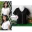 เสื้อผ้าแฟชั่นสวยๆ เสื้อทำงาน สีดำ ผ้าฮานาโกะ คอวี กุ้นขอบสีขาวตัดกัน แบบสวย ดีไซน์เก๋ๆ สินค้าคุณภาพดี thumbnail 2