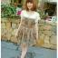 SALE//SALE (ส่งฟรี) ชุดเดรส คอบัว สไตล์เกาหลี พิมพ์ลาย กราฟฟิก สีส้ม เก๋ๆ thumbnail 2