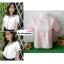 เสื้อผ้าแฟชั่นสวยๆ เสื้อทำงาน สีชมพูอ่อน ผ้าฮานาโกะ คอวี กุ้นขอบสีขาวตัดกัน แบบสวย ดีไซน์เก๋ๆ สินค้าคุณภาพดี thumbnail 1
