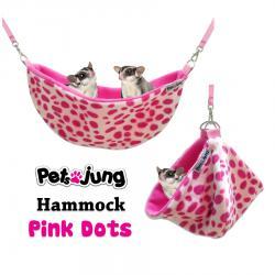 PJ-HAM001-PIDT PetsJunG - Hammock เปลญวน ลายจุดสีชมพู (35x12cm.)