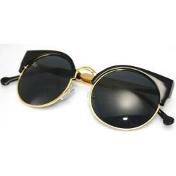ฟรีซอง ผ้าเช็ด!!กรอบแว่นตากันแดดแฟชั่น เรโทร วินเทจ กลม แบบSuper Lucia (ดำ น้ำตาล)