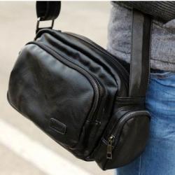 กระเป๋าเรโทร 70s ซิบหลายช่อง ผืนผ้า หนังPU สีดำ น้ำตาล