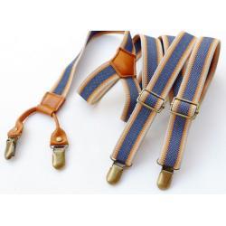 สายรัดกางเกงเอี๊ยมวินเทจ คลิบ สายยืดหยุ่น กว้าง 2.5cm แบบ Y สีฟ้ายีนหนังกากี
