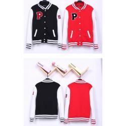 แดง ดำ!!เสื้อแจ็คเก็ตเบสบอลทูโทนโลโก้ Pแขนขาว สีดำ แดง No.34 36 38