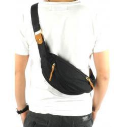 กระเป๋าคาดอก กระเป๋ามือถือ กระเป๋าipad คาดเอว 2 ช่อง2ซิบ ผ้าใบ สีดำ เทา