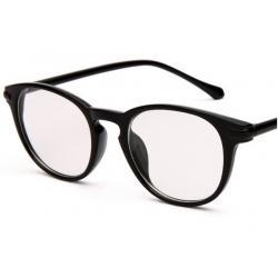 กรอบแว่นตาแฟชั่น เรโทร วินเทจ ทรงกลม ขาสลิมกลมสีล้วน สีดำด้าน ดำเงา กระ