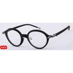 กรอบแว่นตาแบบกลม วินเทจ ย้อนยุค แต่งมุมโครม สีดำด้าน
