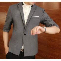 หมดแล้วหมดเลย !!เสื้อสูทตัวเล็ก แขนสั้น เข้ารูป Size No.34 เทาเข้ม