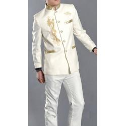 2สีพิเศษ!!ชุดสูท คอจีนกระดุมปักมังกรทอง เสื้อ+กางเกง Size No.36 38 40 42 44 46 48 มังกร ดำ ขาว