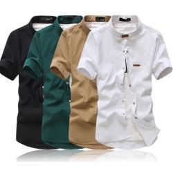 ซื้อคู่สุดค้ม1300-หลากสี+เสื้อเชิ้ตคอจีนแขนสั้น+แขนยาว แต่งคอเข็มขัด สีดำ ขาว เขียว กากี แดง น้ำเงิน No.34 36 38 40 42 44